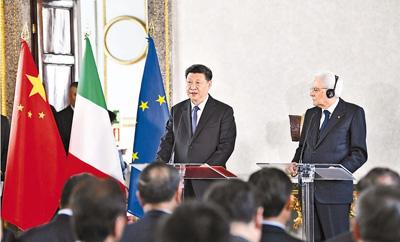 习近平和意大利总统马塔雷拉共同会见双方代表
